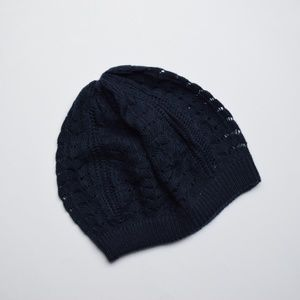 NWOT Charlotte Russe Navy Knitted Slouch Beanie